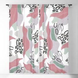 Abstract coral pink green black watercolor pattern Blackout Curtain