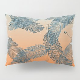 Blue Boho Feathers Pattern Pillow Sham