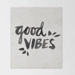 Good Vibes – Black Ink Throw Blanket