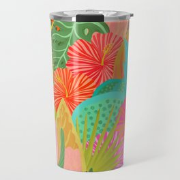 Saturated Tropical Plants and Flowers Travel Mug