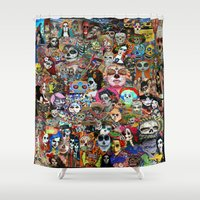 day of the dead Shower Curtains featuring DAY OF THE DEAD by LIGGYZIGHAT
