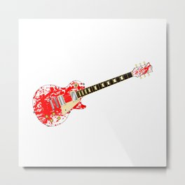 Ink Splatter Guitar Metal Print