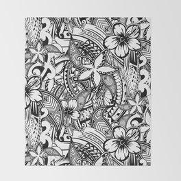 Hawaiian Polynesian Trbal Tatoo Print Throw Blanket