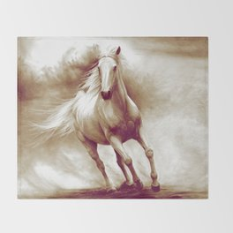 Horse in storm II. recolored version Throw Blanket