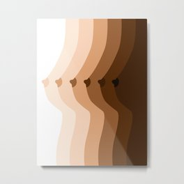 Shades of breasts, Diversity art,Breasts poster, Female body art, Bedroom decor, Different skin tones Metal Print