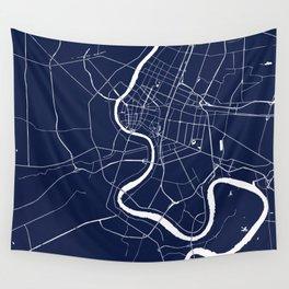 Bangkok Thailand Minimal Street Map - Navy Blue and White II Wall Tapestry