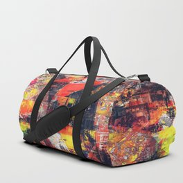 psychedelic geometric triangle polygon pattern abstract background in red orange yellow black Duffle Bag