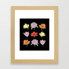 9 flowers (dark) Framed Art Print
