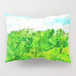 Travel by train from Teramo to Rome: landscape with wood and village Pillow Sham