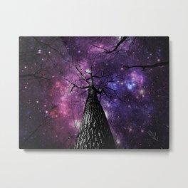 Wintry Trees Deep Purple Galaxy Skies Metal Print