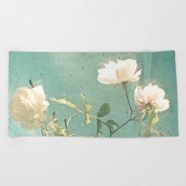 White Rose Beach Towel