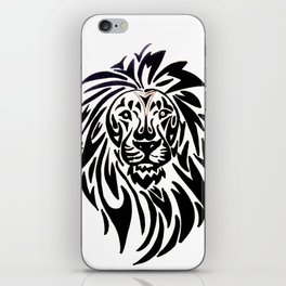 Lion face black and white iPhone Skin