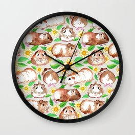 Guinea Pigs and Daisies in Watercolor Wall Clock