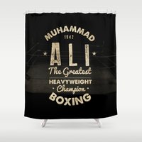 boxing Shower Curtains featuring Boxing Ali Canvas by Maioriz Home