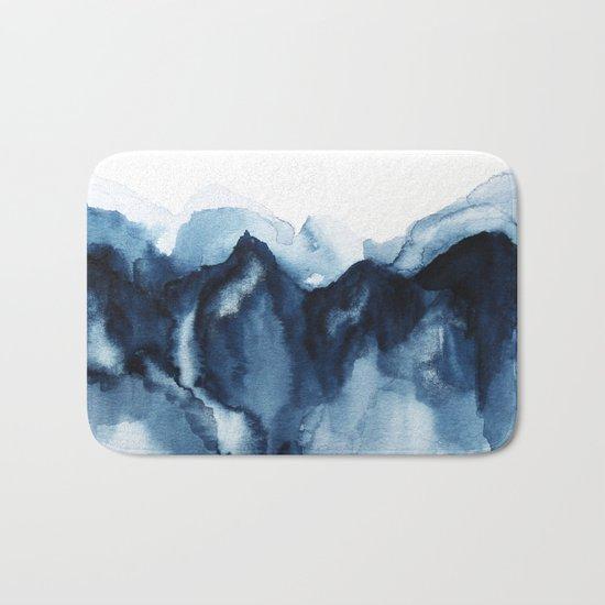 Abstract Indigo Mountains Bath Mat