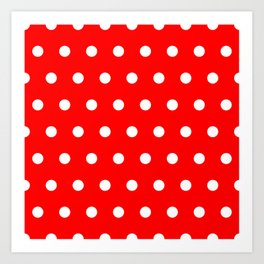 Dots on red Art Print