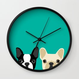 Boston Terrier & French Bulldog 2 Wall Clock