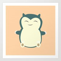 snorlax Art Prints featuring It aint easy being sleepy. by Glassy