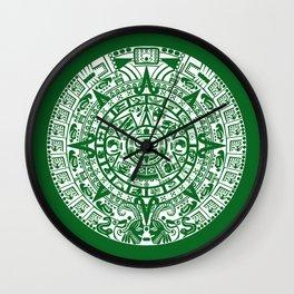 Mayan Calendar // Forest Green Wall Clock
