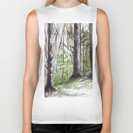 Woodland Trees in Vermont Illustration Nature Art Biker Tank