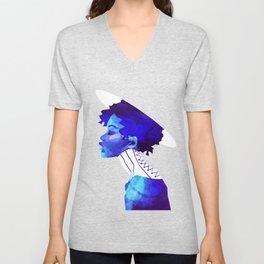 Woman in Blue Unisex V-Neck