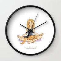 yoga Wall Clocks featuring Yoga by Tamara Rouwendal