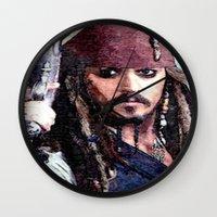 jack sparrow Wall Clocks featuring Jack Sparrow by Brian Raggatt