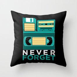 Never Forget | Retro VHS Cassette Tape Floppy Disk Throw Pillow
