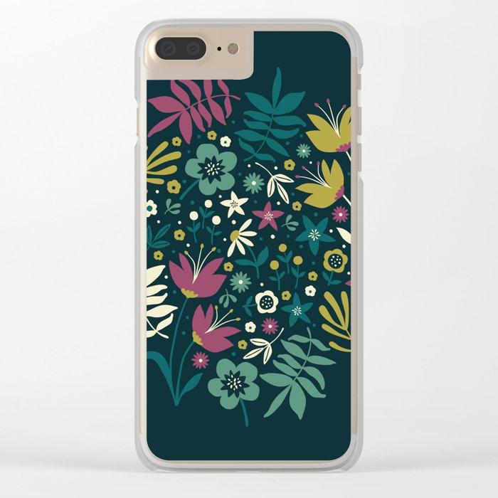 Midnight Florals (pop) Clear iPhone Case