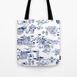 FLOOD IN ANTIQUE CHINESE PORCELAIN Tote Bag