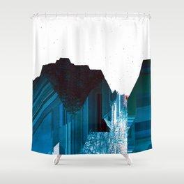 Glitch Valley Blue Shower Curtain