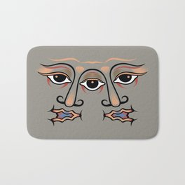 Three eyes are one whole face of twins. Bath Mat