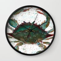 crab Wall Clocks featuring Crab by LEIGH ANNE BRADER