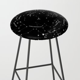 Constellation Map - Black Bar Stool