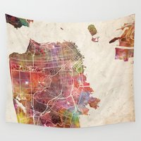 san francisco Wall Tapestries featuring San Francisco map by MapMapMaps.Watercolors
