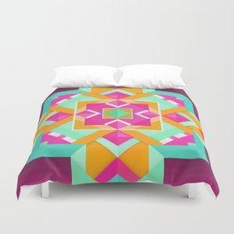 Geometric Tribal Mandala Inspired Modern Trendy Vibrant (Mint Green, Maroon, Wine, Hot Pink, Orange) Duvet Cover