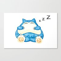 snorlax Canvas Prints featuring Sleepy Snorlax Print by Wine Lips