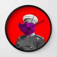 general Wall Clocks featuring General Schweinebacke by Marko Köppe