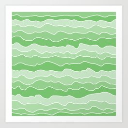 Four Shades of Green with White Squiggly Lines Art Print
