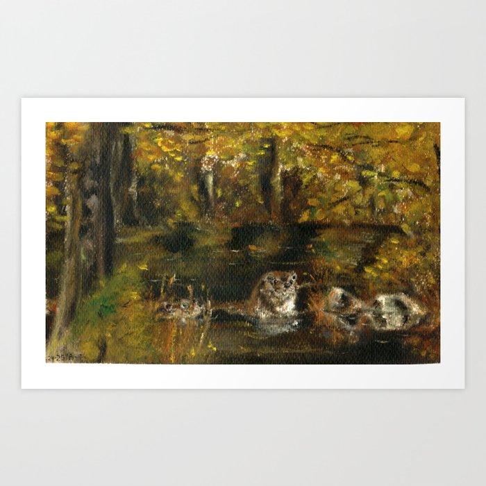 Totem otter in autumn Art Print