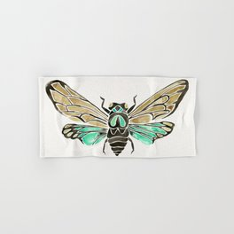 Summer Cicada – Mint & Tan Palette Hand & Bath Towel