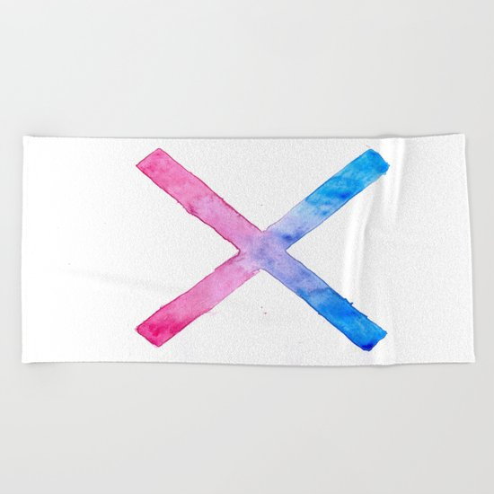 SUICIDE SQUAD HARLEY QUINN INSPIRED RED AND BLUE CROSS. Beach Towel