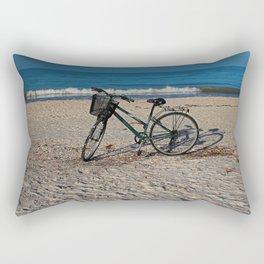 Bike on Barefoot Beach Rectangular Pillow