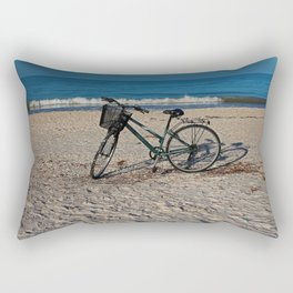 Bike on Barefoot Beach Rectangular Pillow