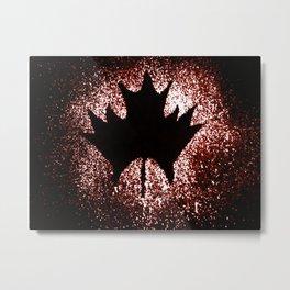 Maple leaf red black Metal Print