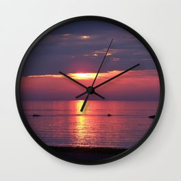 Holes in the Clouds, sunset on the water Wall Clock