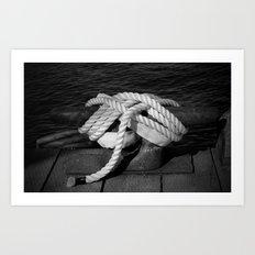 Mooring Rope tied to the dock Art Print