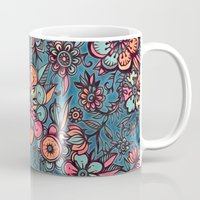teal Mugs featuring Sweet Spring Floral - melon pink, butterscotch & teal by micklyn