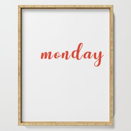 Funny School Statement Typography I Hate Monday  Serving Tray