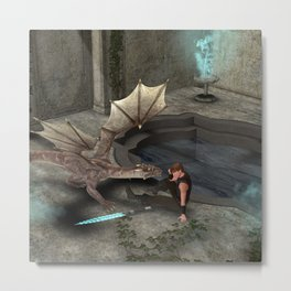 Dragon with his companion Metal Print